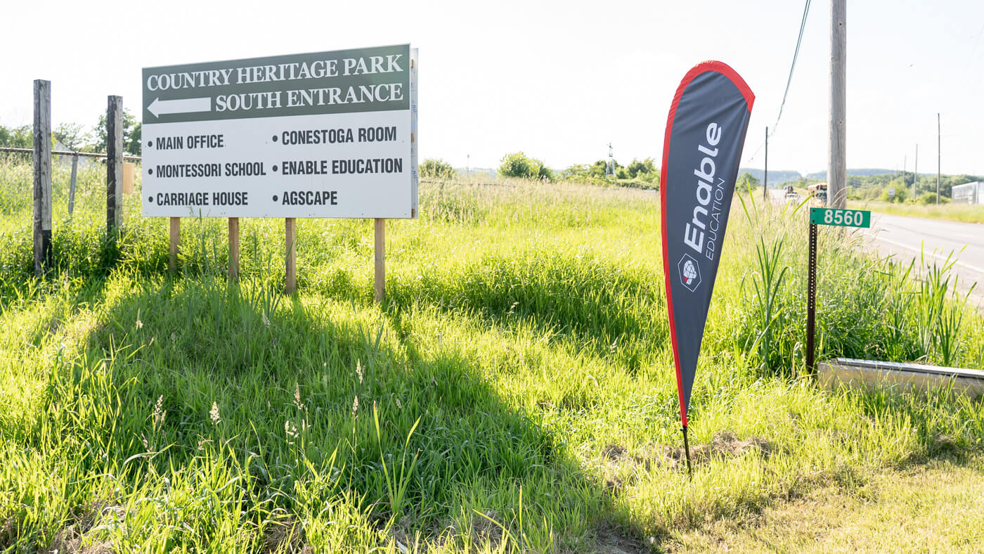 The south entrance to Country Heritage Park is where you want to enter to find Enable Education.